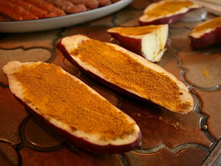 Patates douces au épices indiennes en papillotes sur le grill - Préparation et Photos Marie-Sophie Digne