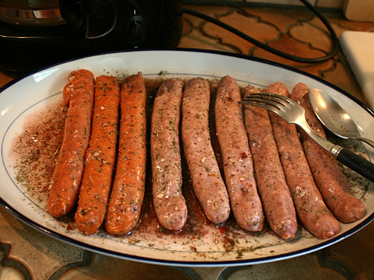 Saucisses de volaille marinées au vinaigre et mélange d'épices persillade - Préparation et photo Marie-Sophie Digne