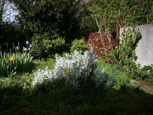 Arrière-jardin la petite partie à tondre demain...